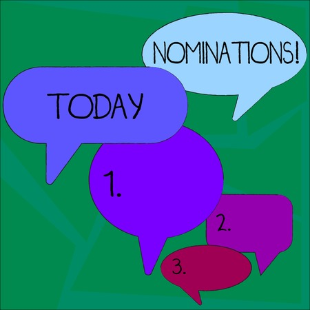 Text sign showing Nominations. Business photo showcasing action of nominating or state being nominated for prize Many Color Speech Bubble in Different Sizes and Shade for Group Discussion