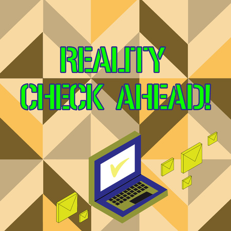 Word writing text Reality Check Ahead. Business photo showcasing makes them recognize truth about situations or difficulties Color Mail Envelopes around Laptop with Check Mark icon on Monitor Screen Stockfoto