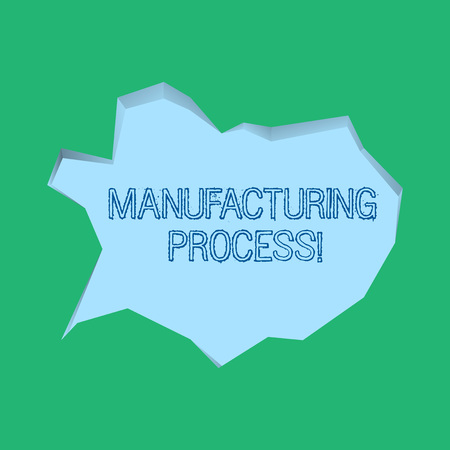 Word writing text Manufacturing Process. Business photo showcasing steps which raw materials changed into a final product Blank Pale Blue Speech Bubble in Irregular Cut Edge Shape 3D Style Backdrop