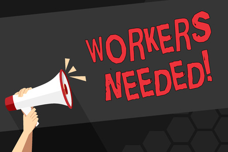 Text sign showing Workers Needed. Business photo showcasing Someone who is employed by agency work another company Human Hand Holding Tightly a Megaphone with Sound Icon and Blank Text Space