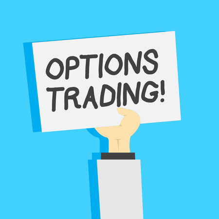 Handwriting text writing Options Trading. Conceptual photo seller gives buyer right but not obligation buy sell shares Clipart of Hand Holding Up Blank Sheet of White Paper on Pastel Backdrop Stock Photo