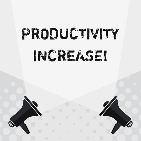 Text sign showing Productivity Increase. Business photo text Labor productivity growth More output from worker Blank Double Spotlight Crisscrossing Upward from Two Megaphones on the Floor