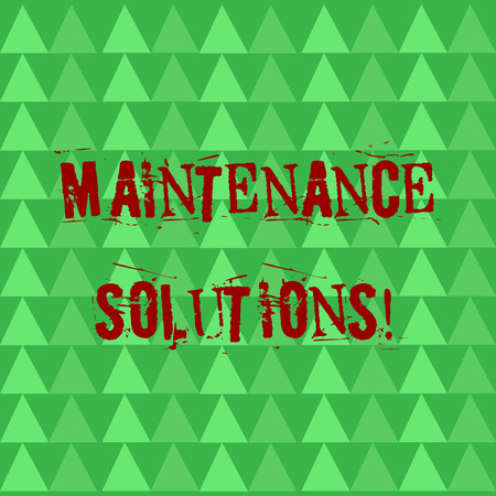 Conceptual hand writing showing Maintenance Solutions. Concept meaning service provided to keep a product in good condition Green Triangles Pattern in Rows like Small Trees in Abstract Shape