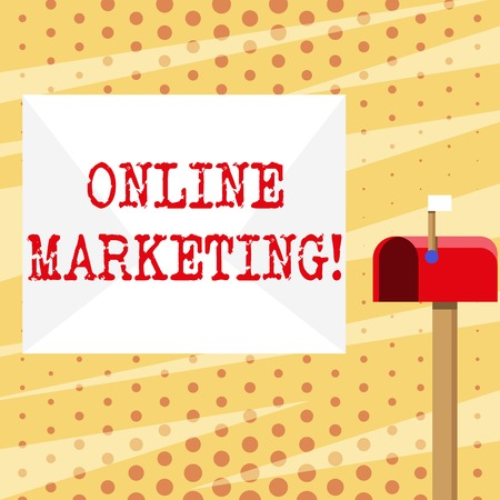 Conceptual hand writing showing Online Marketing. Concept meaning leveraging web based channels spread about companys brand White Envelope and Red Mailbox with Small Flag Up Signalling