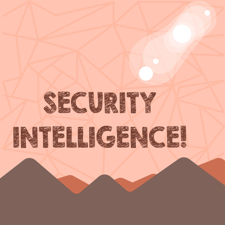 Writing note showing Security Intelligence. Business concept for protecting an organization from threats and risks View of Colorful Mountains and Hills Lunar and Solar Eclipse Standard-Bild