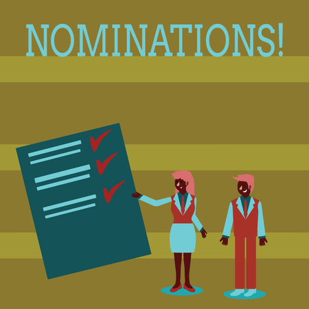 Handwriting text Nominations. Conceptual photo action of nominating or state being nominated for prize Man and Woman in Business Suit Presenting Report of Check and Lines on Paper Stock Photo