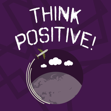 Text sign showing Think Positive. Business photo showcasing mental attitude in wich you expect good and favorable results Airplane with Moving Icon Flying Around Colorful Globe and Blank Text Space 版權商用圖片
