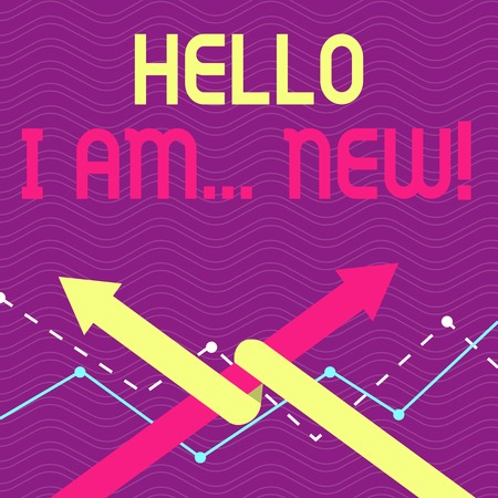 Text sign showing Hello I Am New. Business photo text used as greeting or to begin telephone conversation Two Arrows where One is Intertwined to the other as Team Up or Competition Stok Fotoğraf