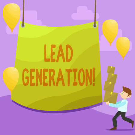Handwriting text writing Lead Generation. Conceptual photo process identifying and cultivating potential customers Man Carrying Pile of Boxes with Blank Tarpaulin in the Center and Balloons