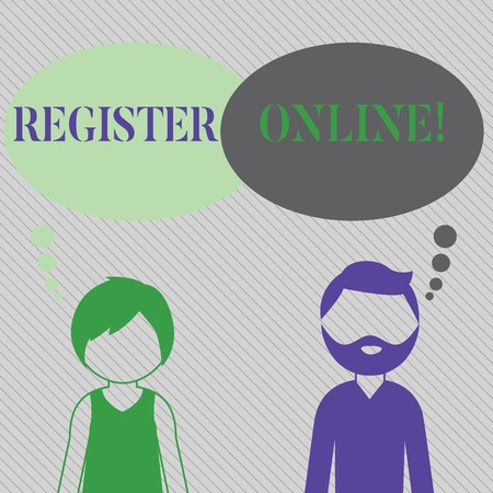 Text sign showing Register Online. Business photo showcasing official list or record showing or things into web or forum Bearded Man and Woman Faceless Profile with Blank Colorful Thought Bubble