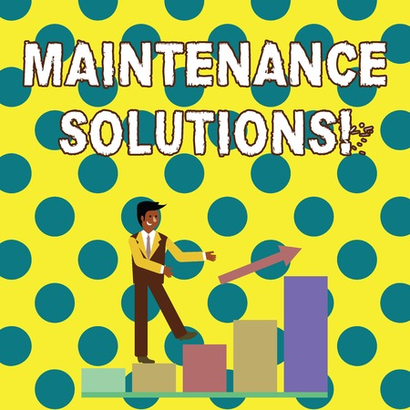 Conceptual hand writing showing Maintenance Solutions. Concept meaning service provided to keep a product in good condition Smiling Businessman Climbing Bar Chart Following an Arrow Up Фото со стока