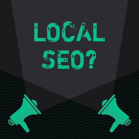 Conceptual hand writing showing Local Seo question. Concept meaning incredibly effective way to market your local business online Blank Spotlight Crisscrossing Upward Megaphones on the Floor