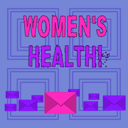 Text sign showing Women S Health. Business photo text Chronic diseases conditions as heart disease cancer diabetes Pastel Color Closed Envelopes in Different Sizes with Big one in the Middle Stock Photo