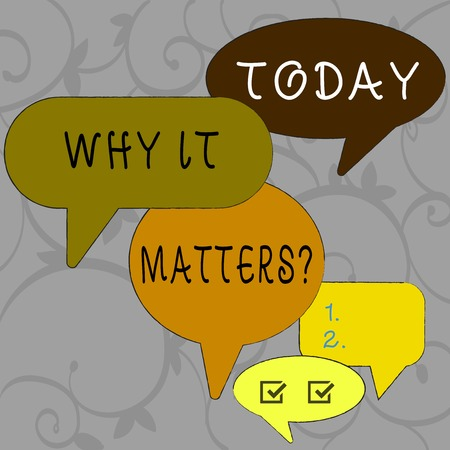 Writing note showing Why It Matters Question. Business concept for most important thing to be done when involved in situation Speech Bubble in Different Sizes and Shade Group Discussion 免版税图像 - 120540718