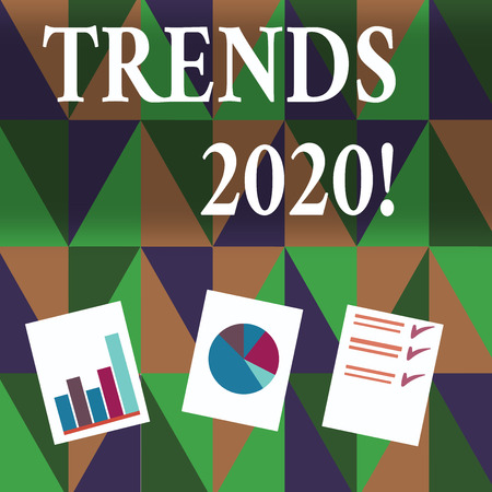 Handwriting text writing Trends 2020. Conceptual photo general direction in which something is developing or changing Presentation of Bar, Data and Pie Chart Diagram Graph Each on White Paper