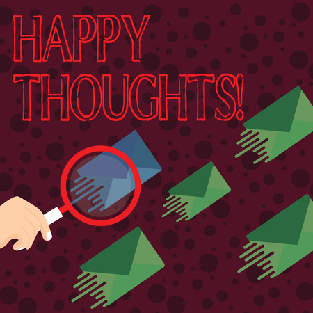 Handwriting text writing Happy Thoughts. Conceptual photo good idea opinion produced by thinking or occurring mind Magnifying Glass on One Different Color Envelope and others has Same Shade
