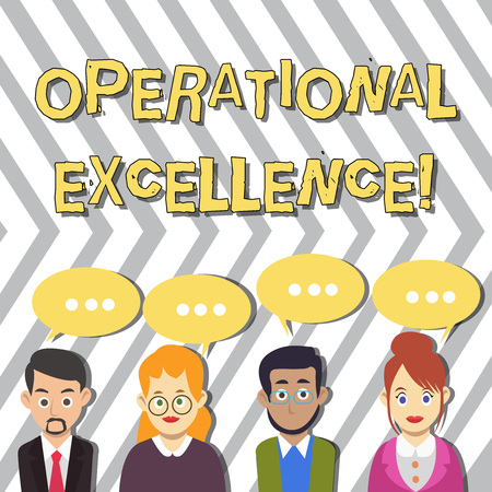 Conceptual hand writing showing Operational Excellence. Concept meaning execution of the business strategy more consistently Group of Business People with Speech Bubble with Three Dots Фото со стока