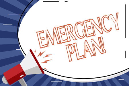Handwriting text Emergency Plan. Conceptual photo course of action developed to mitigate damage of events Blank White Huge Oval Shape Sticker and Megaphone Shouting with Volume Icon Imagens