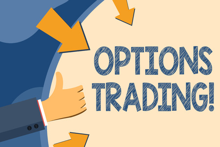 Text sign showing Options Trading. Business photo showcasing seller gives buyer right but not obligation buy sell shares Hand Gesturing Thumbs Up and Holding on Blank Space Round Shape with Arrows