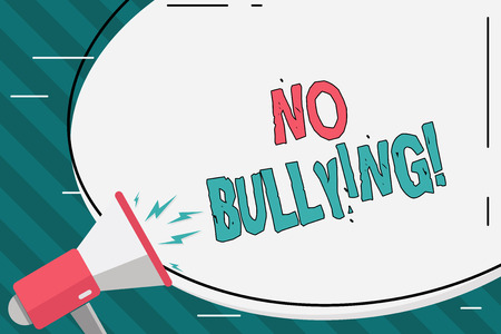 Writing note showing No Bullying. Business concept for stop aggressive behavior among children power imbalance Oval Shape Sticker and Megaphone Shouting with Volume Icon