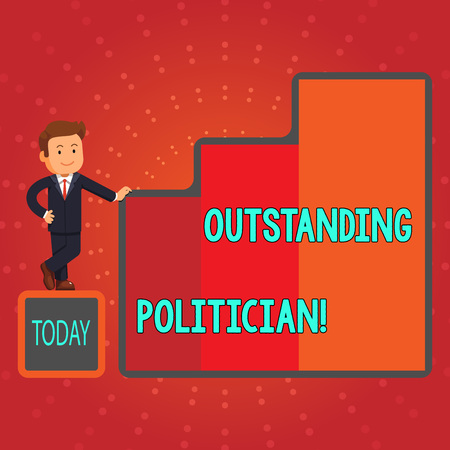 Writing note showing Outstanding Politician. Business concept for Having good character of a great leader of a society Businessman Presenting Growth and Success in Graph Columns Stock Photo