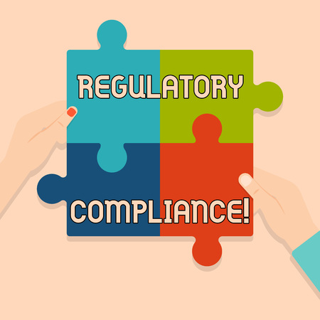 Writing note showing Regulatory Compliance. Business concept for organization s is adherence to laws and regulations Multi Color Jigsaw Puzzle Pieces Put Together by Human Hands