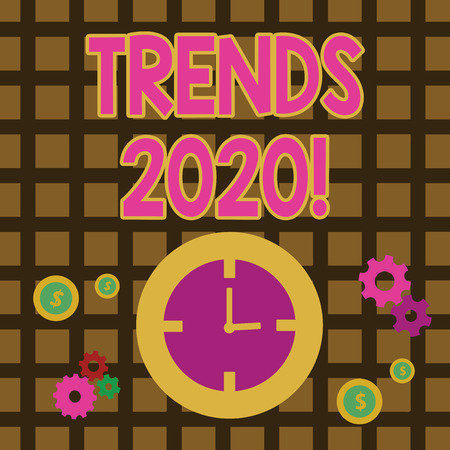 Conceptual hand writing showing Trends 2020. Concept meaning general direction in which something is developing or changing Time Management Icons of Clock, Cog Wheel Gears and Dollar Banco de Imagens