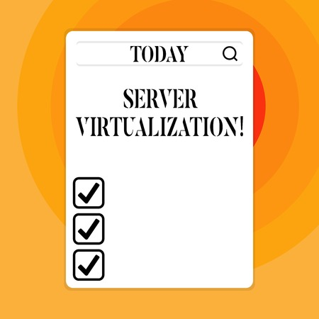 Text sign showing Server Virtualization. Business photo showcasing allow for more than one server to run on same hardware Search Bar with Magnifying Glass Icon photo on Blank Vertical White Screen