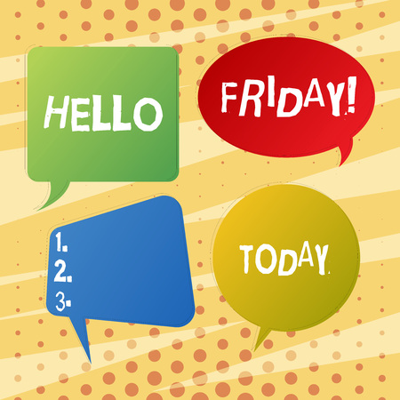 Handwriting text writing Hello Friday. Conceptual photo you say this for wishing and hoping another good lovely week Blank Speech Bubble Sticker in Different Shapes and Color for Multiple Chat Imagens