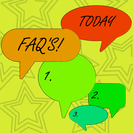 Conceptual hand writing showing Faq S. Concept meaning list of questions and answers relating to particular subject Speech Bubble in Different Sizes and Shade Group Discussion 版權商用圖片