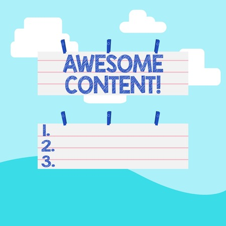 Handwriting text writing Awesome Content. Conceptual photo you are satisfied and happy about what book move contain Two Color Blank Strip Size Lined Paper Sheet Hanging Using Blue Clothespin
