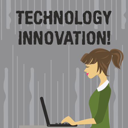Handwriting text writing Technology Innovation. Conceptual photo significant technical changes of product and processes photo of Young Busy Woman Sitting Side View and Working on her Laptop
