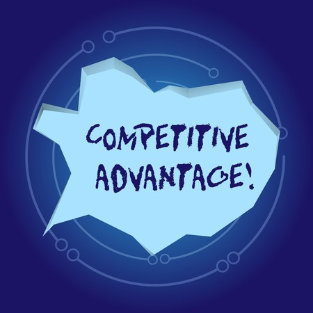 Text sign showing Competitive Advantage. Business photo showcasing Condition that puts a company in a favorable position Blank Pale Blue Speech Bubble in Irregular Cut Edge Shape 3D Style Backdrop