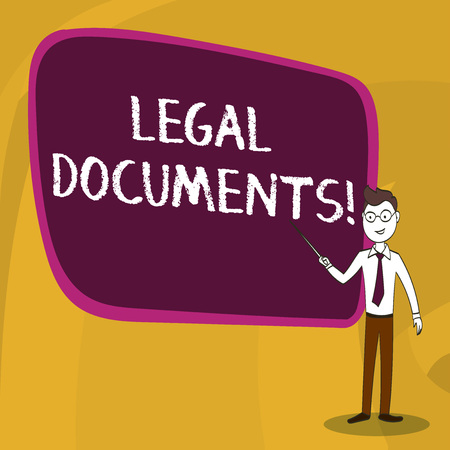 Word writing text Legal Documents. Business photo showcasing states some contractual relationship or grants some right Confident Man in Tie, Eyeglasses and Stick Pointing to Blank Colorful Board