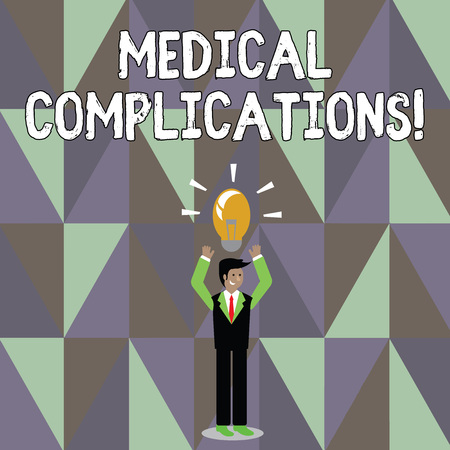 Word writing text Medical Complications. Business photo showcasing unfavorable evolution or consequence of a disease Businessman Standing Raising Arms Upward with Lighted Bulb Icon on his Head Imagens