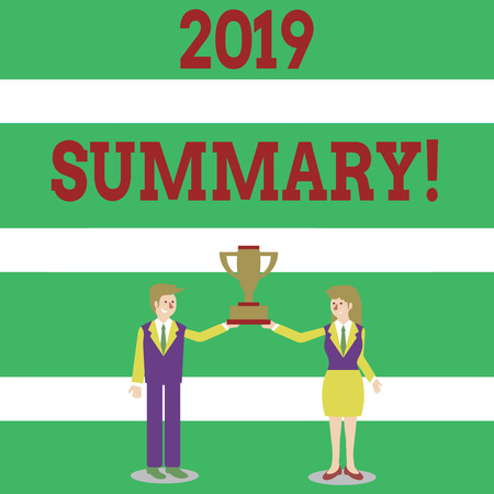 Writing note showing 2019 Summary. Business concept for summarizing past year events main actions or good shows Man and Woman Business Suit Holding Championship Trophy Cup Banco de Imagens - 120548711