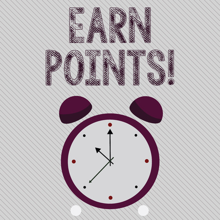 Writing note showing Earn Points. Business concept for collecting scores in order qualify to win big prize Colorful Round Analog Two Bell Alarm Desk Clock with Seconds Hand photo