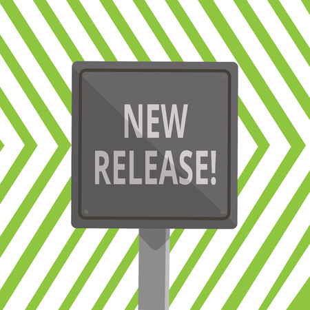 Word writing text New Release. Business photo showcasing announcing something newsworthy recent product 3D Square Blank Colorful Caution Road Sign with Black Border Mounted on Wood Reklamní fotografie