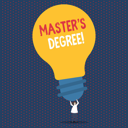 Text sign showing Master S Degree. Business photo showcasing academic degree awarded by universities upon high school Person Standing and Raising Up Arms Holding Big Yellow Lightbulb for Ideas