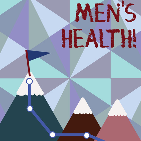 Handwriting text writing Men S Health. Conceptual photo state of complete physical mental and social well being by analysis Three Mountains with Hiking Trail and White Snowy Top with Flag on One Peak
