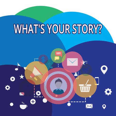 Writing note showing What S Your Story Question. Business concept for asking demonstrating about his past life actions events photo of Digital Marketing Campaign Icons and Elements for Ecommerce