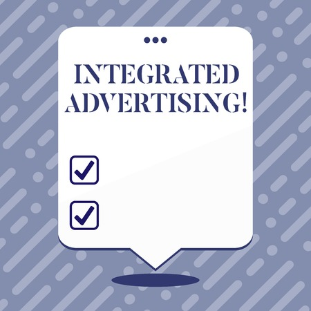 Text sign showing Integrated Advertising. Business photo showcasing Unified experience to consumer to interact with brand Blank Space White Speech Balloon Floating with Three Punched Holes on Top