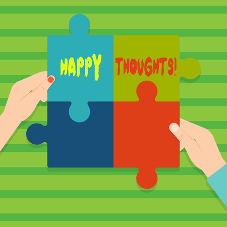 Conceptual hand writing showing Happy Thoughts. Concept meaning good idea opinion produced by thinking or occurring mind Multi Color Jigsaw Puzzle Pieces Put Together by Human Hands Stockfoto