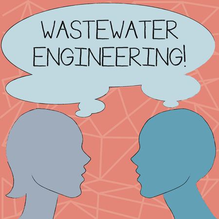 Conceptual hand writing showing Wastewater Engineering. Concept meaning engineering methods to improve sanitation in publics Silhouette Sideview Profile of Man and Woman Thought Bubble