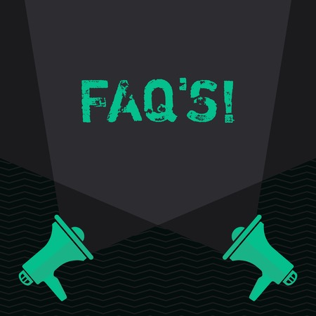 Conceptual hand writing showing Faq S. Concept meaning list of questions and answers relating to particular subject Blank Spotlight Crisscrossing Upward Megaphones on the Floor