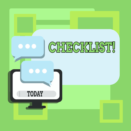 Handwriting text writing Checklist. Conceptual photo list items required things be done or points considered Blank Computer Monitor and Two Speech Balloon with Three Dots for Chat Icon