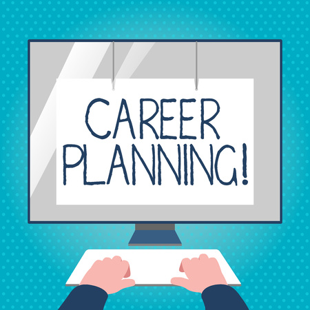 Text sign showing Career Planning. Business photo text ongoing process where you Explore interests and abilities Hands on Mockup Keyboard Front of Blank White Monitor with Screen Protector