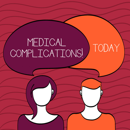 Handwriting text Medical Complications. Conceptual photo unfavorable evolution or consequence of a disease Blank Faces of Male and Female with Colorful Blank Speech Bubble Overlaying