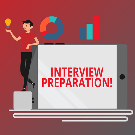 Conceptual hand writing showing Interview Preparation. Concept meaning Candidate getting ready for the employer job dialogue Man Leaning on Smartphone Turned on Side Graph and Idea Icon