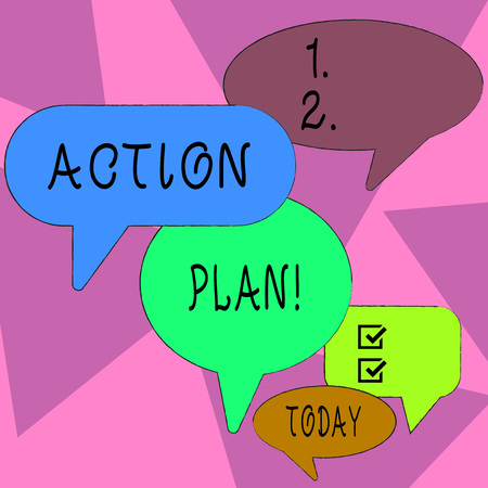 Word writing text Action Plan. Business photo showcasing proposed strategy or course of actions for certain time Many Color Speech Bubble in Different Sizes and Shade for Group Discussion